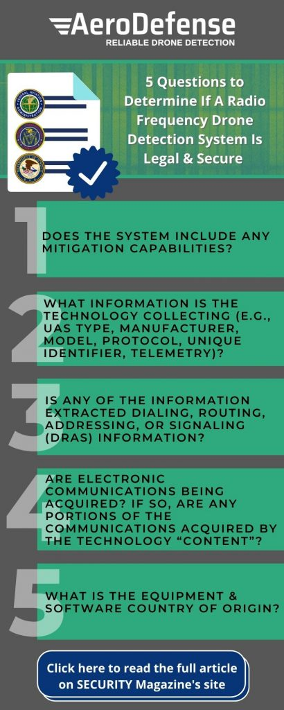 5 Questions to Determine If A Radio Frequency Drone Detection System Is Legal & Secure Infographic